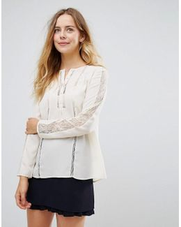 French Conecction Polly Plains Mesh Sleeved Blouse