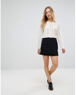 Arrow Crepe Pleated Layer Mini Skirt
