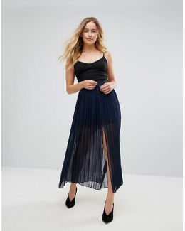 Copper Sheer Pleated Maxi Skirt