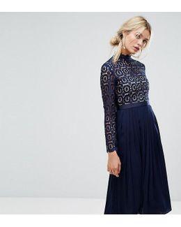 Premium Lace Pleated Midi Dress