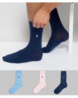 3 Pack Ribbed Socks Egyptian Cotton In Pink/blue/navy
