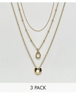 Pack Of 3 Open Teardrop Necklaces