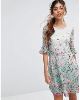 Magnolia Print Skater Dress