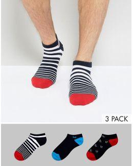 Invisible Sneaker Socks In 3 Pack