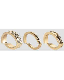 Pack Of 3 Textured And Smooth Rings