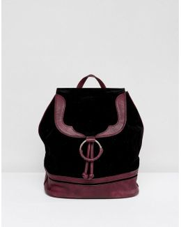 Faux Suede Backpack With Burgundy Trim