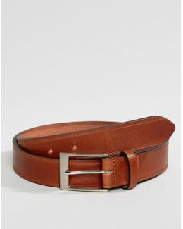 Smart Tan Leather Slim Belt With Edge Emboss