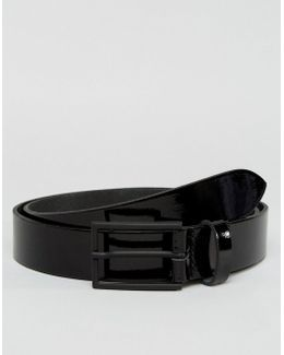 Slim Belt In Patent Black Leather
