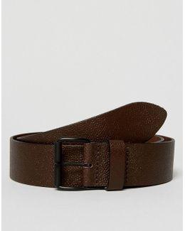 Wide Belt In Pebble Grain Leather In Brown With Matte Black Roller Buckle