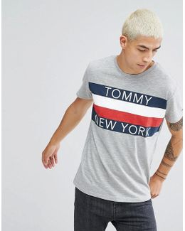 Tommy T-shirt Icon New York Stripe In Grey Marl