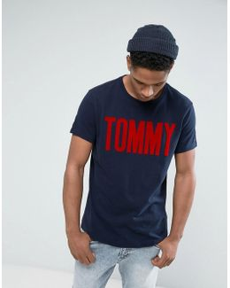 Tommy T-shirt Tommy Flock Print In Navy