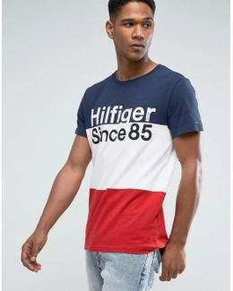 Tommy T-shirt Icon Block Stripe In Navy/white/red