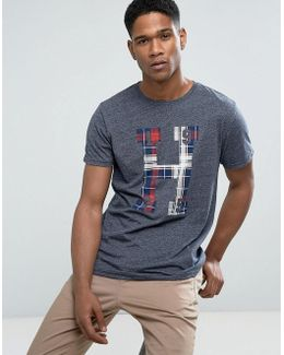 Tommy T-shirt Large Tartan H In Blue Marl