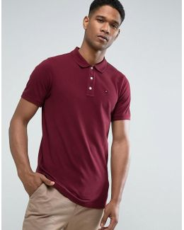 Tommy Pique Polo Flag Logo In Burgundy