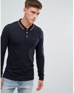 Tommy Pique Polo Long Sleeve Icon Tipping In Navy