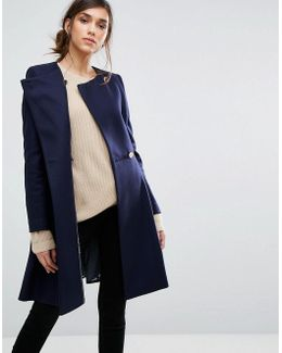 Full Skrt Asymmetric Wool Coat