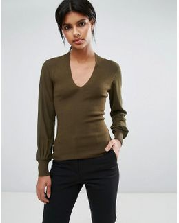 Silk Sleeve V Neck Sweater