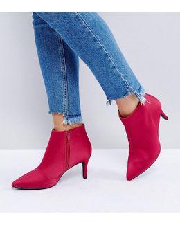 Satin Mid Heeled Boot