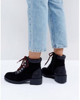Contrast Lace Up Hiker Boot