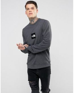 Fine Crew Neck Sweatshirt Box Logo In Dark Grey Marl