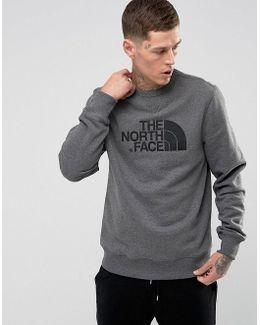 Drewpeak Crew Neck Sweatshirt Chest Logo In Mid Grey Marl