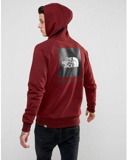 Raglan Hoodie Back Red Box Logo In Burgundy