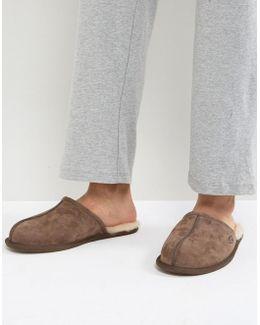 Scuff Suede Mule Slippers In Brown