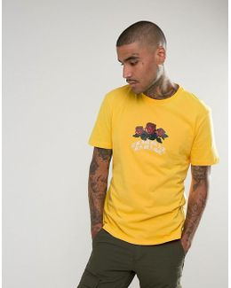 T-shirt In Yellow With Rose Logo