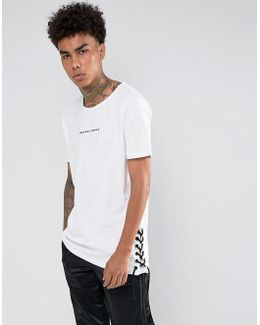 T-shirt In White With Lace Sides