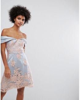 Premium Lace Bardot Mini Dress