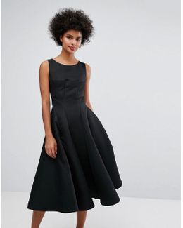 Fit And Flare Midi Dress With Seam Detail