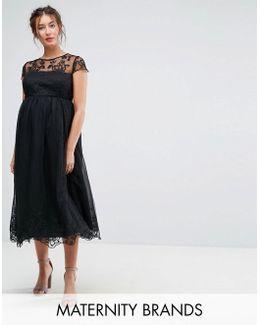 Premium Lace Midi Prom Dress With Lace Neck