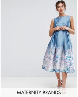 2 In 1 Midi Dress With Border Print At Hem