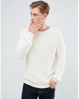 Crew Neck Fisherman Knit Sweater