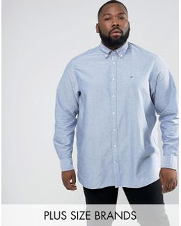 Plus Oxford Shirt Buttondown Regular Fit In Blue