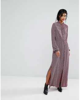 Printed Midi Dress With Slits