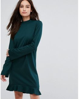 Frill Hem Long Sleeve Dress