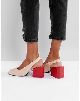 Contrast Block Heel Sling Back Shoe