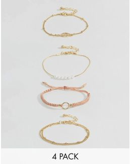 Pack Of 4 Fine Cord And Metal Bracelets