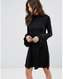 Swing Dress With Bell Sleeve Detail