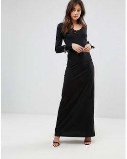 Maxi Dress With Tie Sleeve Detail