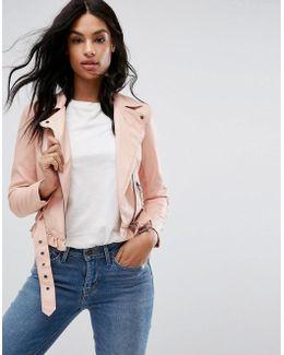 Petite Leather Look Belted Biker Jacket
