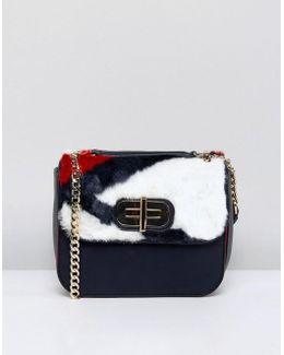 Twist Lock Fur Crossbody Bag