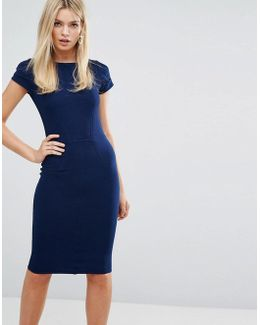 Ribbed Bodycon Dress With Cap Sleeve