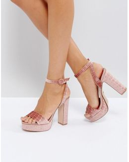 Morisey Velvet Platform Heeled Sandals