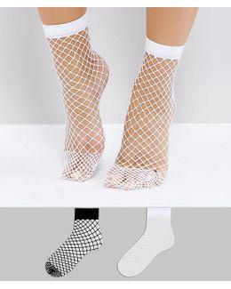 2 Pack Oversized Fishnet Socks In Black And White