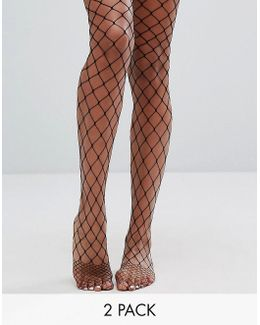 2 Pack Oversized Fishnet Tights In Black And Orange