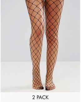 2 Pack Oversized Fishnet Tights In Black And White