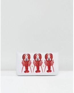 Embroidered Lobster Zip Around Purse