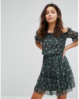 Floral Bardot Frill Dress